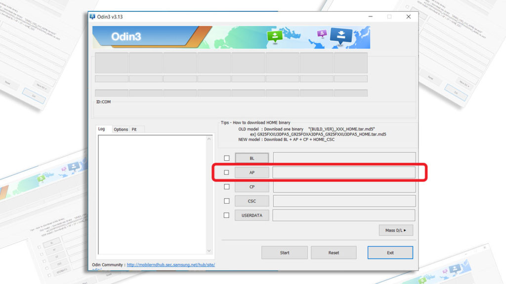 select combination file flash combination file with samsung odin