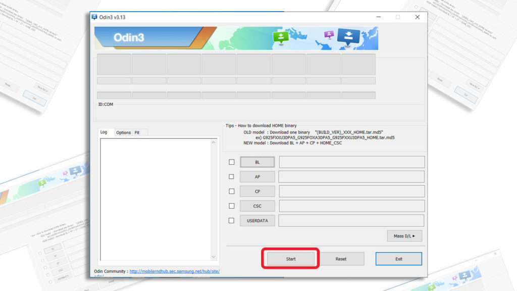 start flash combination file with samsung odin